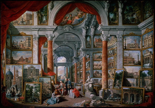 Giovanni Paolo Pannini, Picture Gallery with Views of Modern Rome, Oil on canvas, 1757. Museum of Fine Arts, Boston.