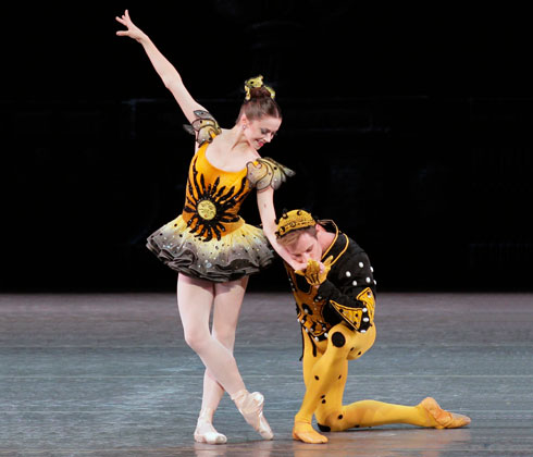 Megan Fairchild and Andrew Veyette in Danses Concertantes. Photo by Paul Kolnik.