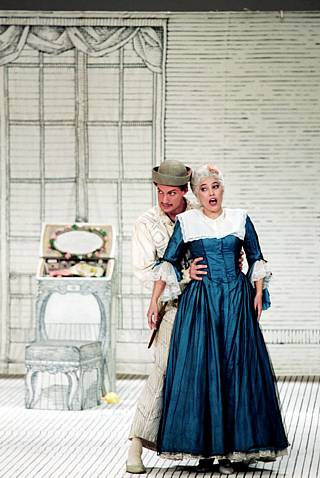 Vivica Genaux as Rosina in Ruth Berghaus' production of The Barber of Seville, 2008.
