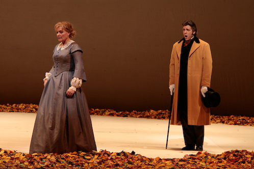 "Karita Mattila as Tatiana and Thomas Hampson in the title role of Tchaikovsky's ""Eugene Onegin."" Photo: Beatriz Schiller/Metropolitan Opera"