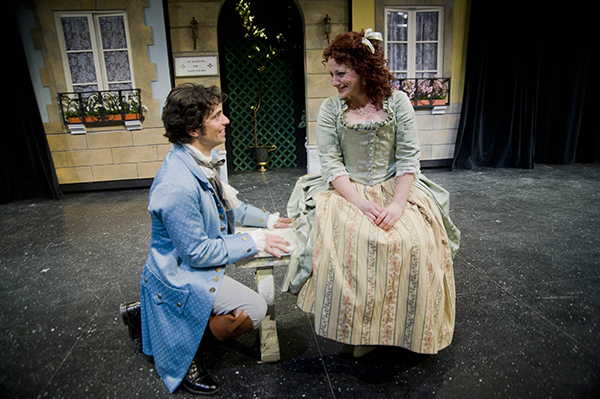 David Joseph and Emily Rose Ehlinger in a scene from Corneille's The Liar at Shakespeare & Co.