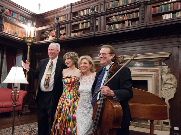 Kenneth Cooper, Roza Tulyaganova, Paula Robison, and Frederick Zlotkin take their bows in the library of