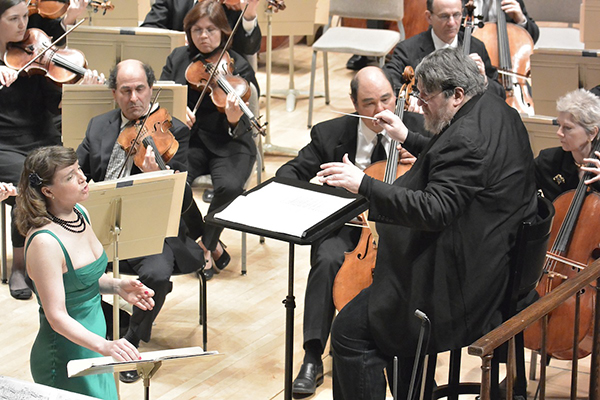 Oliver Knussen directing the Boston Symphony Orchestra with Claire Booth, Soprano, Photo Stu Rosner.