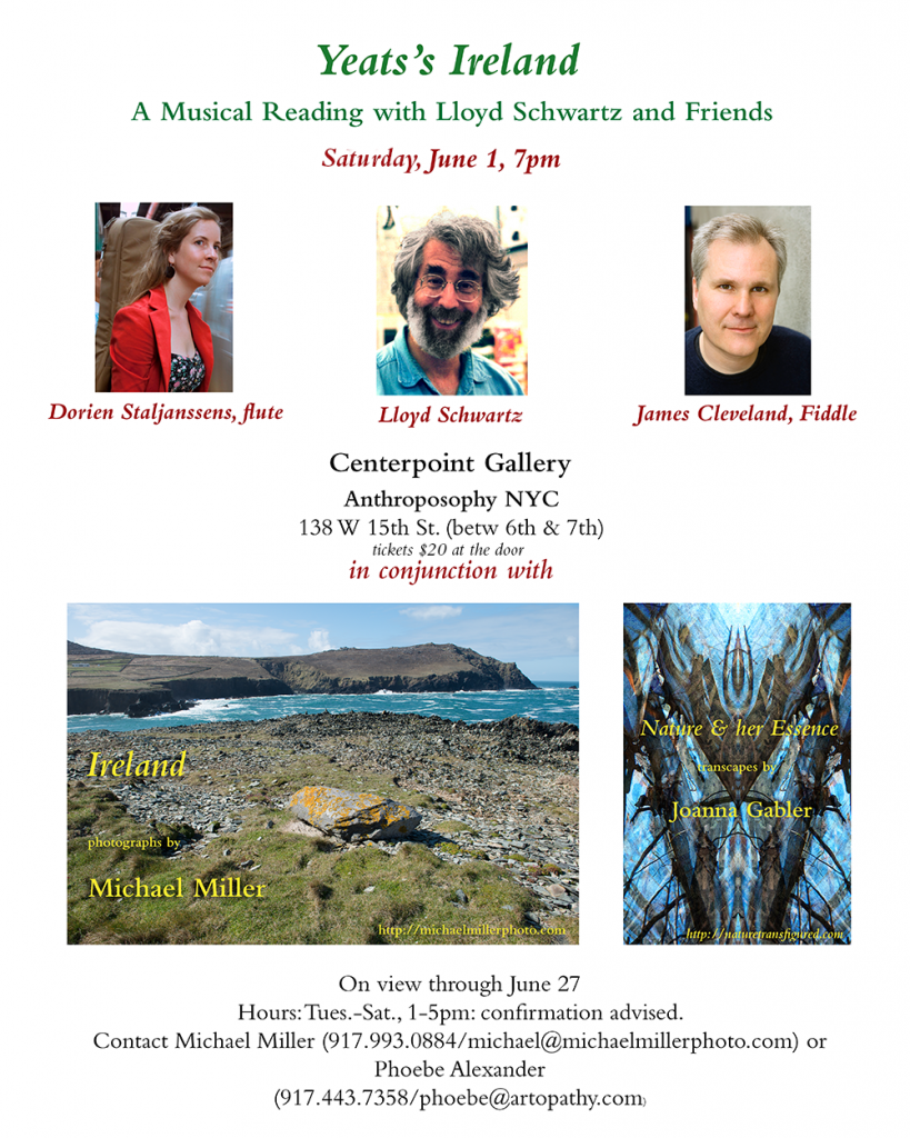 Yeats's Ireland - New York Arts and Anthroposophy NYC present a musical reading by Lloyd Schwartz, with James Cleveland, Fiddle, and Dorien Staljanssens, Flute.