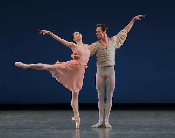 Megan Fairchild and Andrew Veyette of the New York CIty Ballet in George Balanchine's Allegro Brillante. Photo by Paul Kolnik.