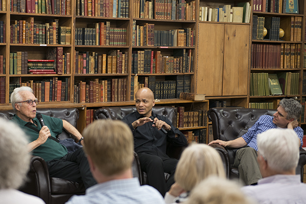 John Guare, Omar Sangare, and Neil Pepe converse at the Strand. Photo Michael Miller.