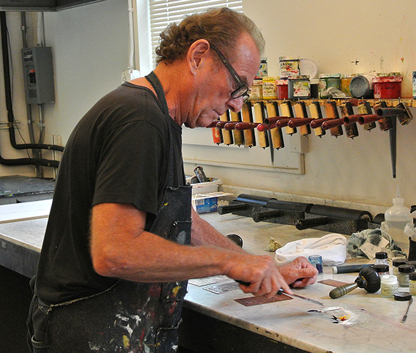 Michael Phillps mixing historic inks