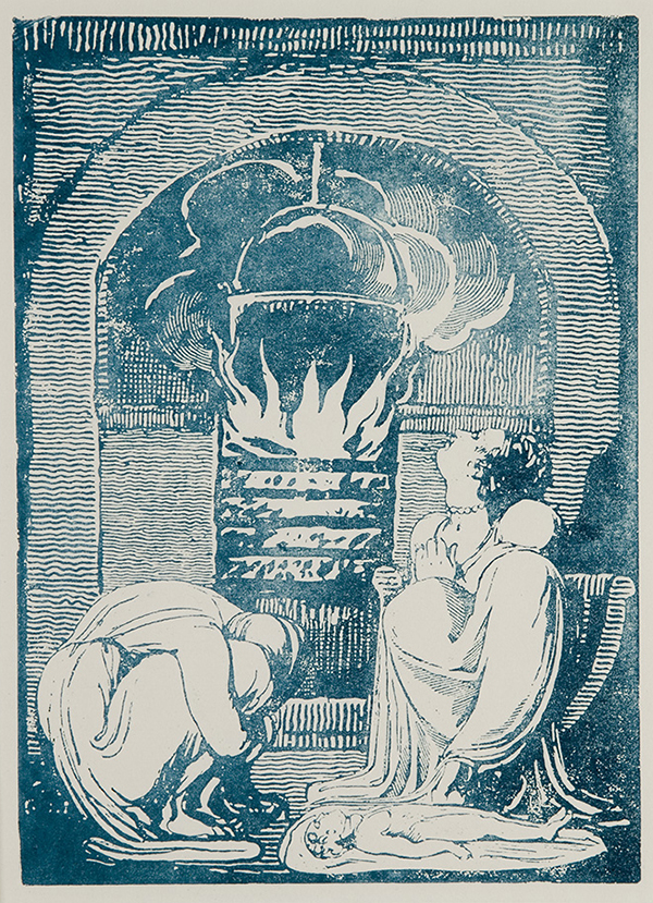 Michael Phillips, Plate 6 of Blake's Europe, a Prophecy, printed from re-created copper relief-etched plates