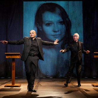 Omar Sangare, Elżbieta Czyżewska, John Guare in Elżbieta Erased. Photo Kevin Thomas Garcia.