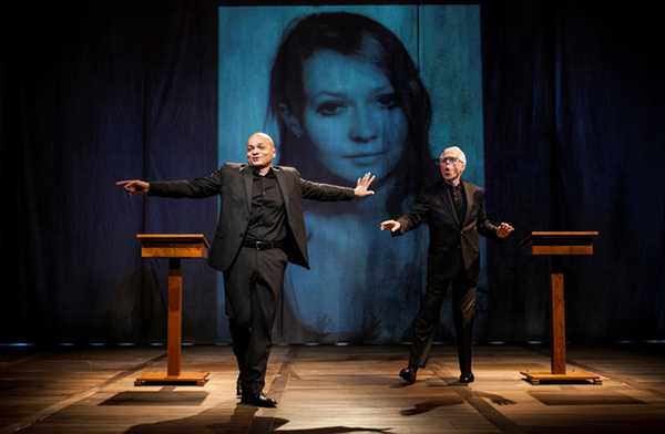 Omar Sangare, Elżbieta Czyżewska, John Guare in Elżbieta Erased. Photo Kevin Thomas Garcia.