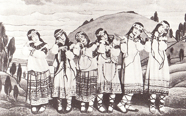 Dancers in Nicholas Roerich's original costumes. From left, Julitska, Marie Rambert, Jejerska, Boni, Boniecka, Faithful.