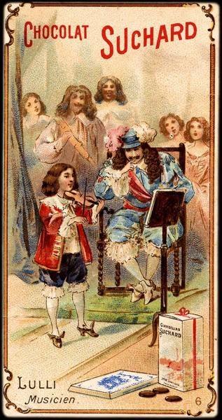 Lulli - musicien, Chocolat Suchard advertisement. Chromolithograph on cardboard, end of the 19th century. 10.6 by 5.6 cm. Musée des Civilisations de l'Europe et de la Méditerranée, Marseille.