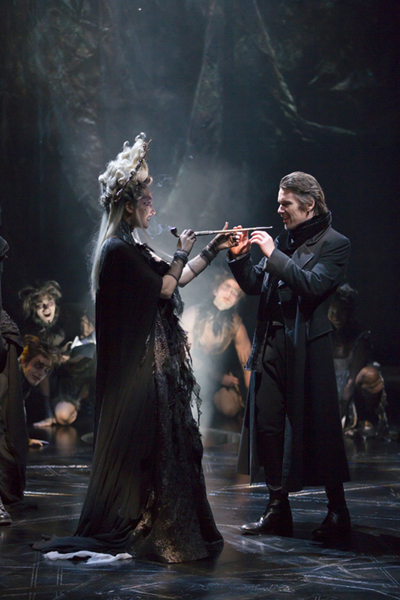 Francesca Faridany and Ethan Hawke in Shakespeare's Macbeth at the Vivian Beaumont Theater, Lincoln Center. Photo T. Charles Erickson.
