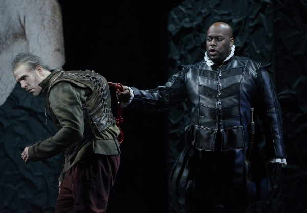 Michael Mayes as Rigoletto and Morris Robinson as Sparafucile in the BLO's Rigoletto. Eric Antoniou for Boston Lyric Opera © 2014