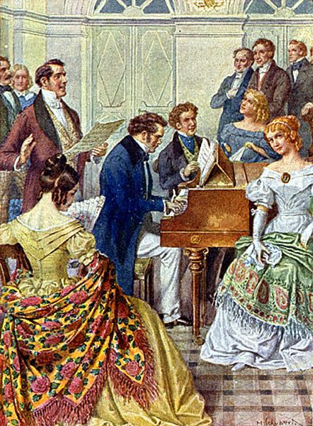Franz Schubert at the keyboard.