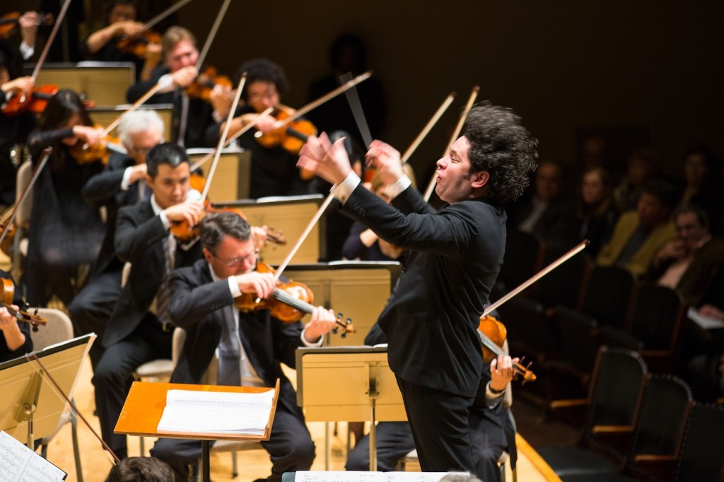 Gustavo Dudamel conducts the LA Philharmonic at Symphony Hall. Photo Robert Torres.