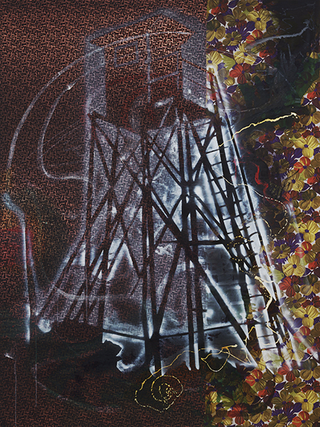 Sigmar Polke, German, 1941–2010, Watchtower (Hochsitz). 1984. Synthetic polymer paints and dry pigment on patterned fabric, 9′ 10″ x 7′ 4 1⁄2″ (300 x 224.8 cm). The Museum of Modern Art, New York. Fractional and promised gift of Jo Carole and Ronald S. Lauder. © 2014 Estate of Sigmar Polke/ Artists Rights Society (ARS), New York/VG Bild‑Kunst, Bonn.