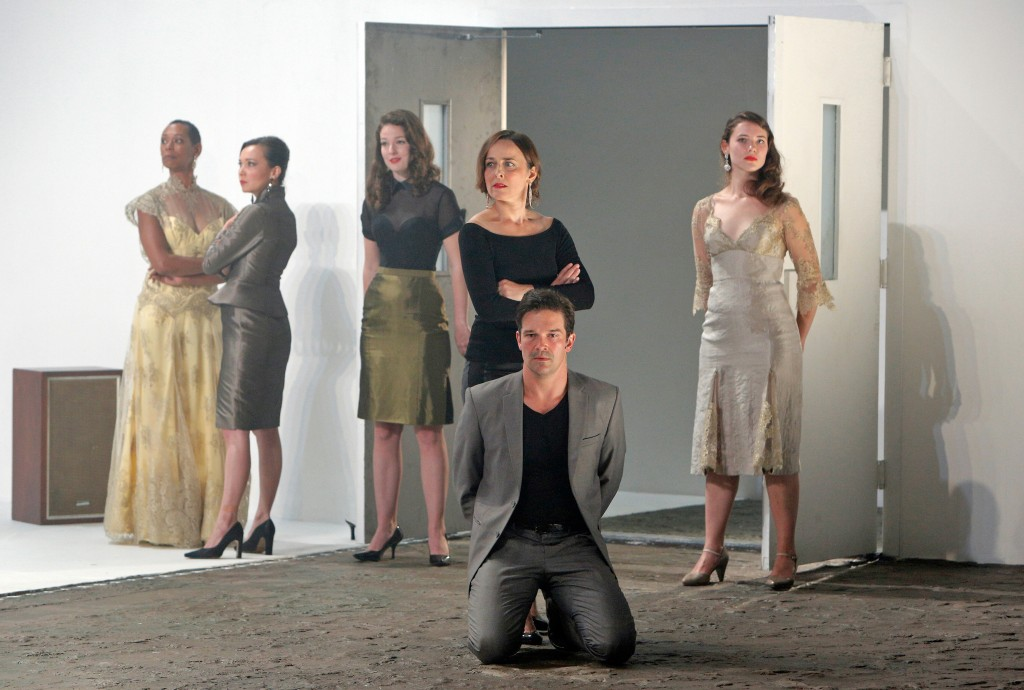 Karen Kandell. Stacey Yen, Claire Thompson, Birgit Huppuch, Chris Stack (kneeling), and Hannah Mitchell in Love in the Wars. Photo Cory Weaver.