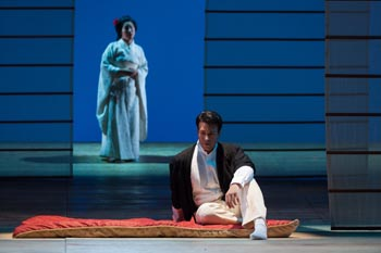 "Dinyar Vania as Lieutenant B.F. Pinkerton and Yunah Lee as Cio-Cio-San in The Glimmerglass Festival's 2014 production of ""Madame Butterfly."" Photo: Karli Cadel/The Glimmerglass Festival."