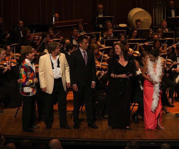 "Frank Kelly, Alan Schneider, Thomas Meglioranza, Jana Baty, and Sara Heaton in the Odyssey Opera production of ""Die tote Stadt."" Photo Kathy Wittman."