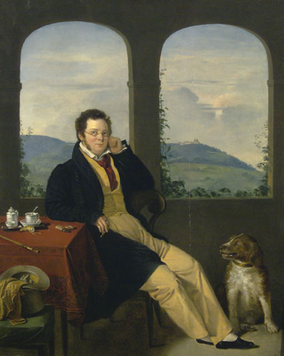 Schubert, by Gábor Melegh, 1827, Oil on panel. Hungarian National Gallery.