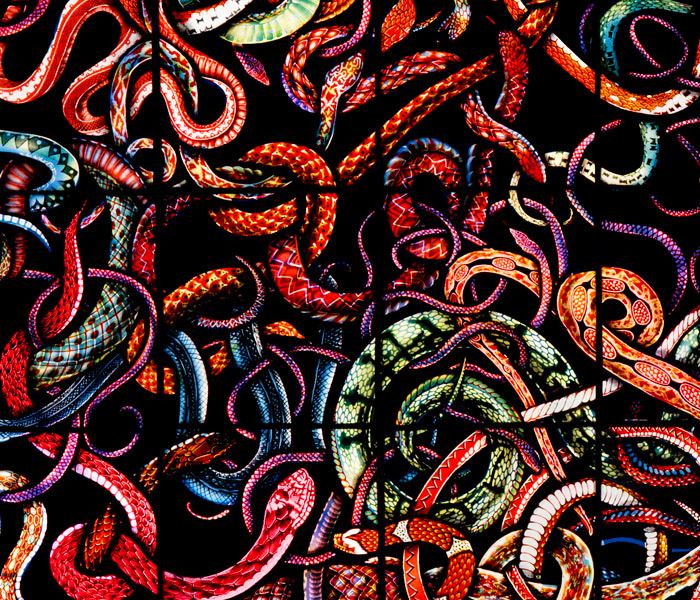 A Play About Snakes (detail), Stained Glass Lightbox | © Judith Schaechter