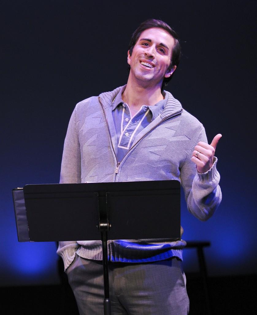 "SATURDAY NIGHT PRODUCTION PHOTO 8 Matthew Scott in the York Theater Company Musicals in Mufti presentation of Stephen Sondheim's ""Saturday Night.""  Photo credit:  Jenny Anderson."