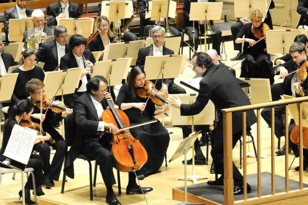 Andris Nelsons and Yo-Yo Ma with the BSO. Photo Stu Rosner.