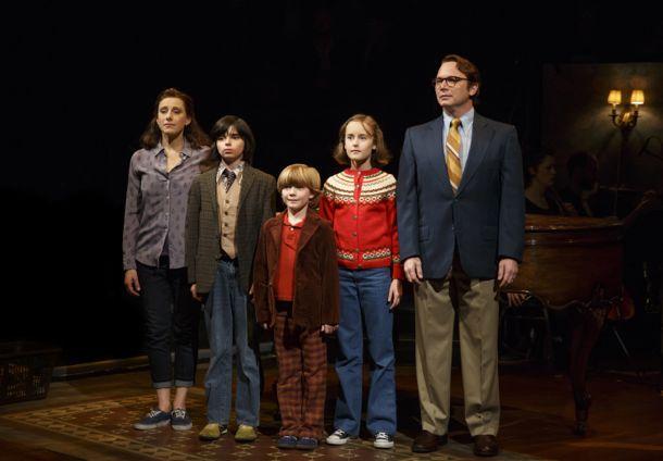 "L-R: Judy Kuhn, Oscar Williams, Zell Steele Morrow, Sydney Lucas, and Michael Cerveris in ""Fun Home"" ©Joan Marcus"
