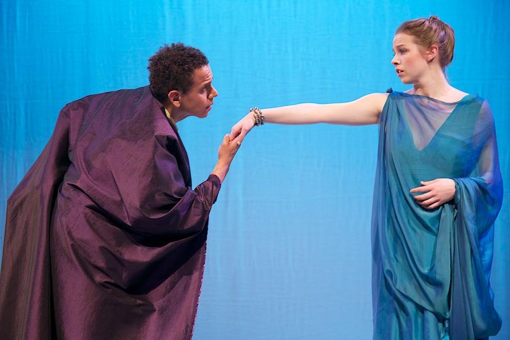 Yujhán Claros as Xuthus and Elizabeth Heintges as Creusa. Photo Joe Ritter.
