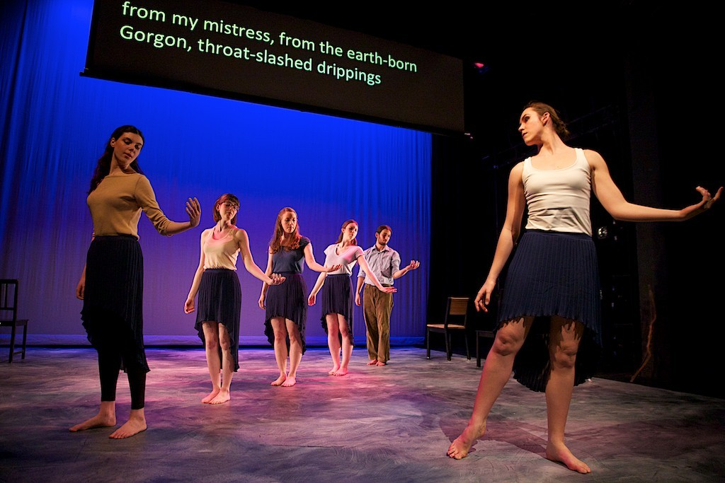 Dancer Chloe Hawkey and the Chorus in Euripides Ion, preformed by the Barnard/Columbia Ancient Drama Group. Photo Joe Ritter.