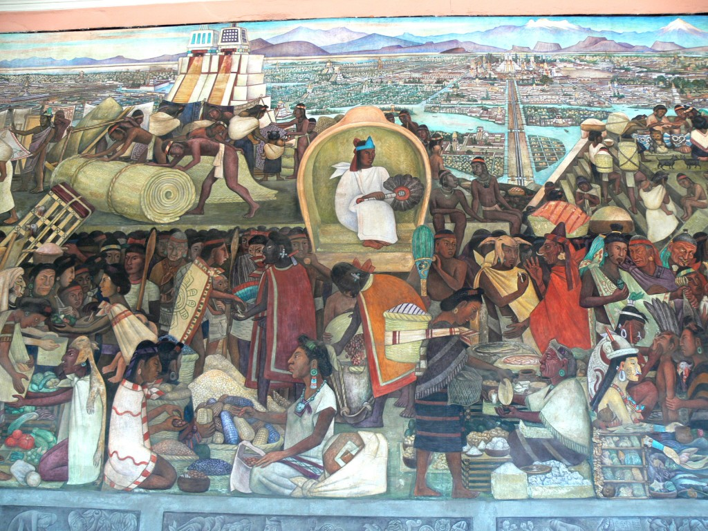 Diego Rivera, La Gran Tenochtitlan, detail