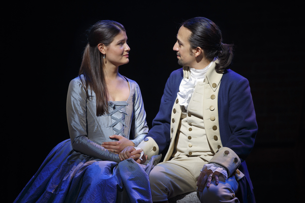 Phillipa Soo and Lin-Manuel Miranda in Hamilton. Photo Joan Marcus.