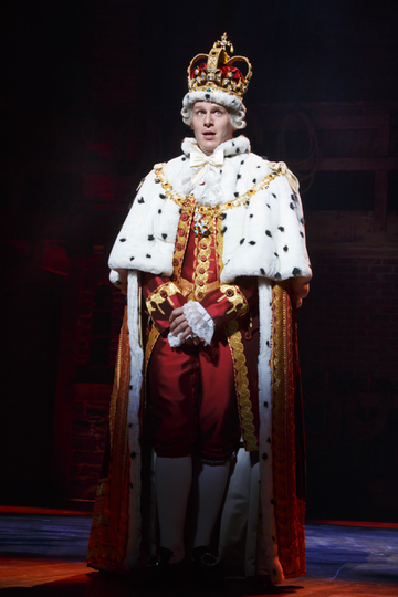 Jonathan Groff as King George III in Hamilton. Photo Joan Marcus.