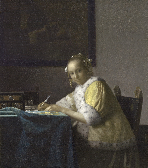 Johannes Vermeer (Delft 1632–1675), A Lady Writing (about 1665), Oil on canvas, National Gallery of Art, Washington, Gift of Harry Waldron Havemeyer and Horace Havemeyer, Jr., in memory of their father, Horace Havemeyer, 1962.10.1, Courtesy, Museum of Fine Arts, Boston.