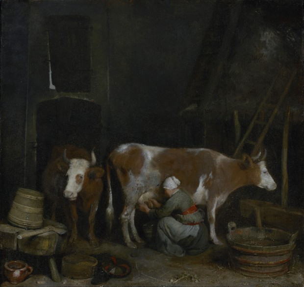 Gerard ter Borch (Zwolle 1617 – Deventer 1681), A Maid Milking a Cow in a Barn (about 1652-54), Oil on panel, The J. Paul Getty Museum.