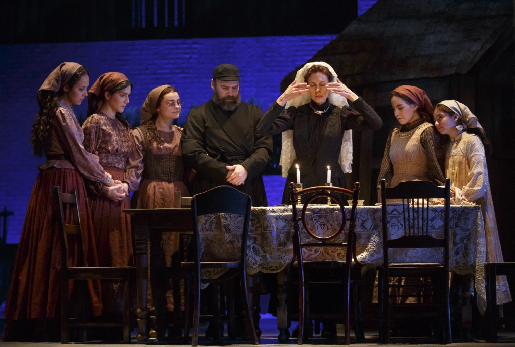 Fiddler on the Roof, Broadway Theatre. Danny Burstein (Tevye), Jessica Hecht (Goldie), and daughters.