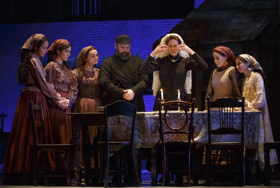 Fiddler on the Roof Broadway Theatre.  Danny Burstein  (Tevye), Jessica Hecht (Goldie), and daughters.