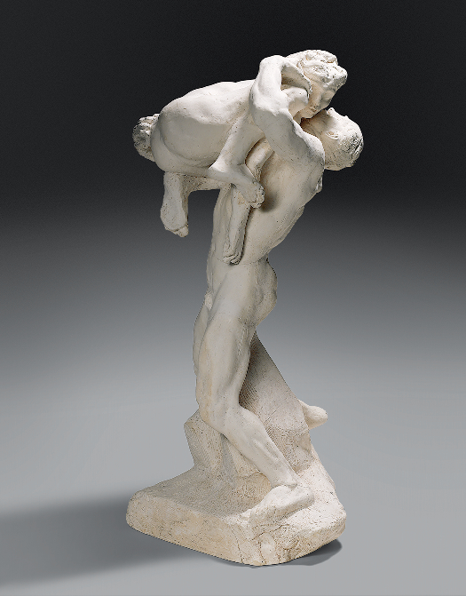 Auguste Rodin (1840-­1917), I Am Beautiful: Assemblage of The Falling Man and Crouching Woman (for The Gates of Hell), 1882, Patinated plaster for bronze casting, 69.5 x 36.3 x 36.2 cm, Paris, Musée Rodin, © Musée Rodin. Photo Christian Baraja.