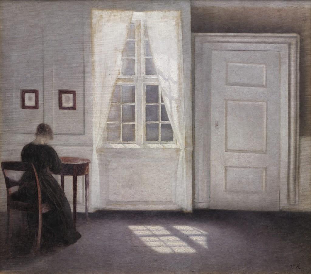 Vilhelm Hammershøi, Interior in Strandgade, Sunlight on the Floor, 1901. Oil on canvas, 18 1/3 x 20 1/2 in. (46.5 x 52 cm). Statens Museum for Kunst, smk.dk.