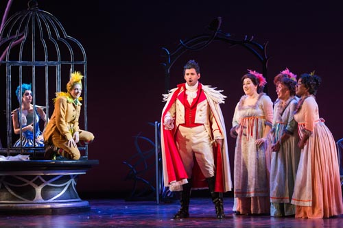 "L to R: Meg Gillentine as the Magpie, Allegra De Vita as Pippo, Michele Angelini as Giannetto and members of the ensemble in The Glimmerglass Festival's production of ""The Thieving Magpie."" Photo: Karli Cadel."
