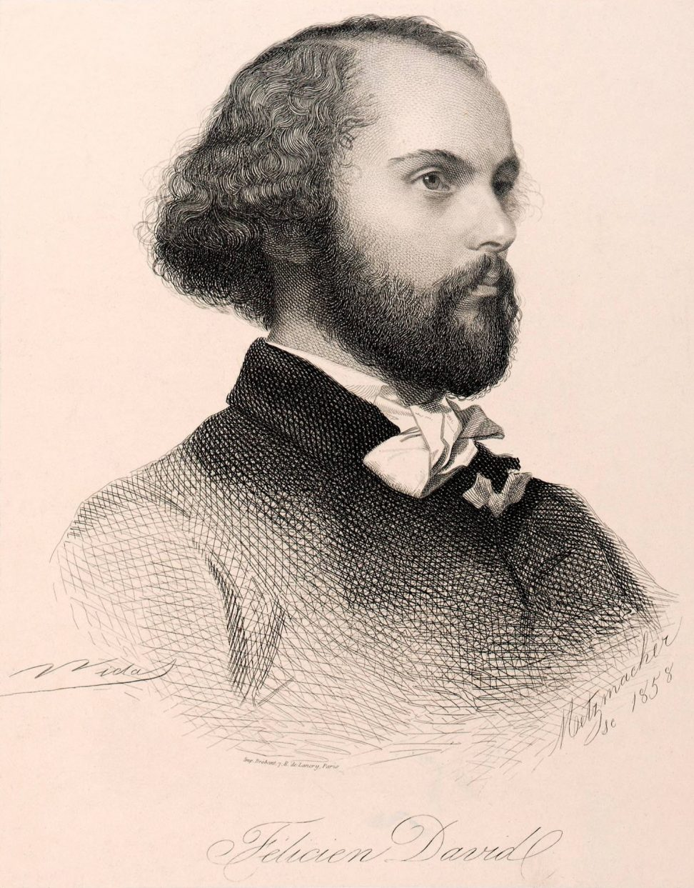 Émile Pierre Metzmacher. Portrait of Félicien David, 1858.