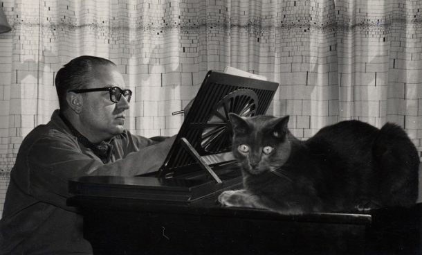 Alberto Ginastera with Cat