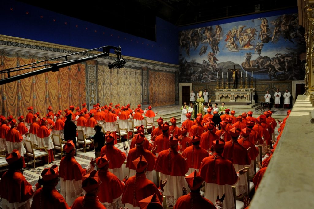 The Sistine Set, with blue screen.