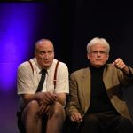 Brendan Averett as Andre the Giant and Dave Sikula as Samuel Beckett in Sam & Dede, or my Dinner with Andre the Giant at 59E59 Theaters. Photo Jay Yamada.
