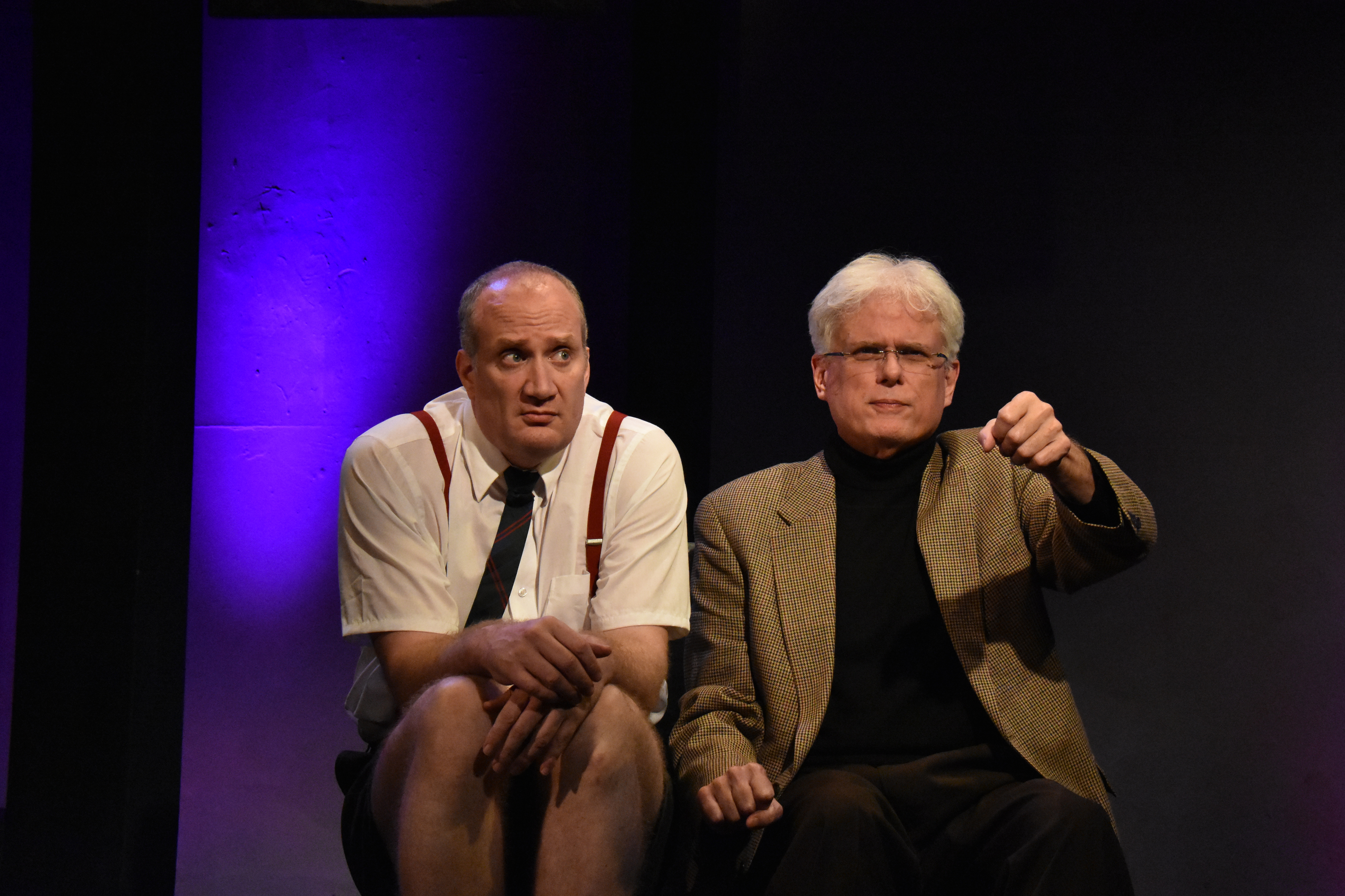 Brendan Averett as Andre the Giant and Dave Sikulaas Samuel Beckett in Sam & Dede, or my Dinner with Andre the Giant at 59E59 Theaters. Photo Jay Yamada.
