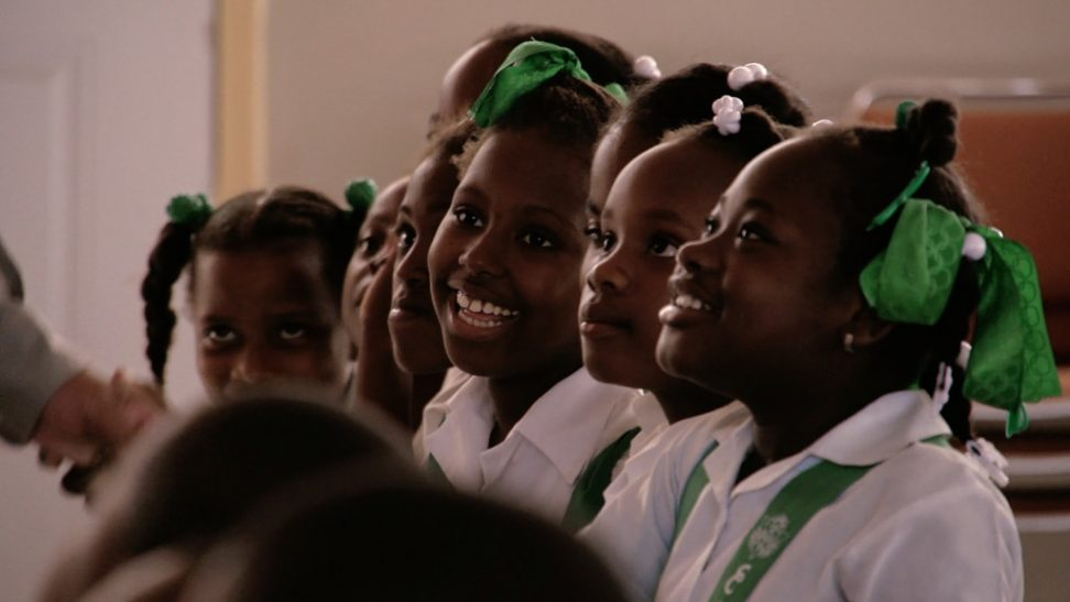 Students at the Holy Trinity Music School in Haiti, scene from Owsley Brown's Serenade for Haiti.