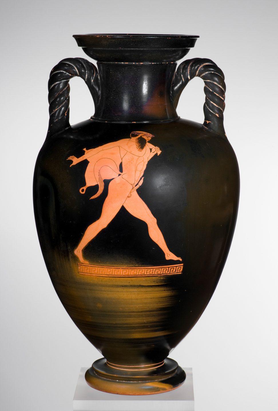 Attributed to the Berlin Painter, Greek, Attic, fl. ca. 500-ca. 460 B.C. Red figure Neck-Amphora with Twisted Handles, ca. 480 B.C. Satyr Running with Wineskin. Staatliche Antikensammlungen und Glyptothek München (Inv. 8766)