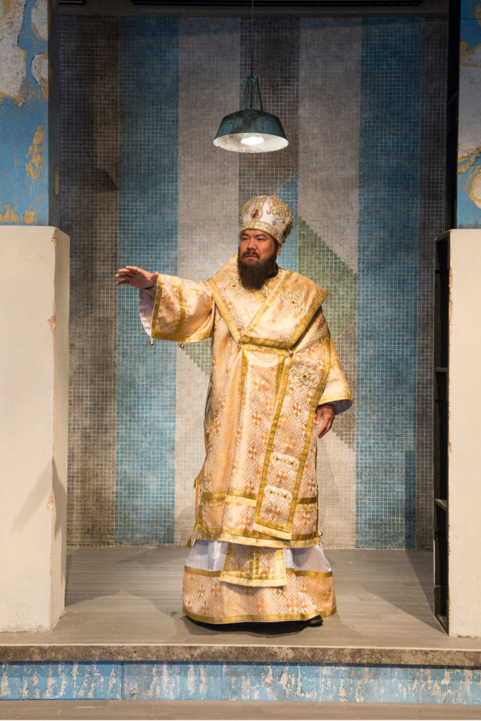 Peixin Chen as the Patriarch in Dvořák's grand opera, Dimitrij at Bard Summerscape, 2017. Rehearsal photo Dion Ogust