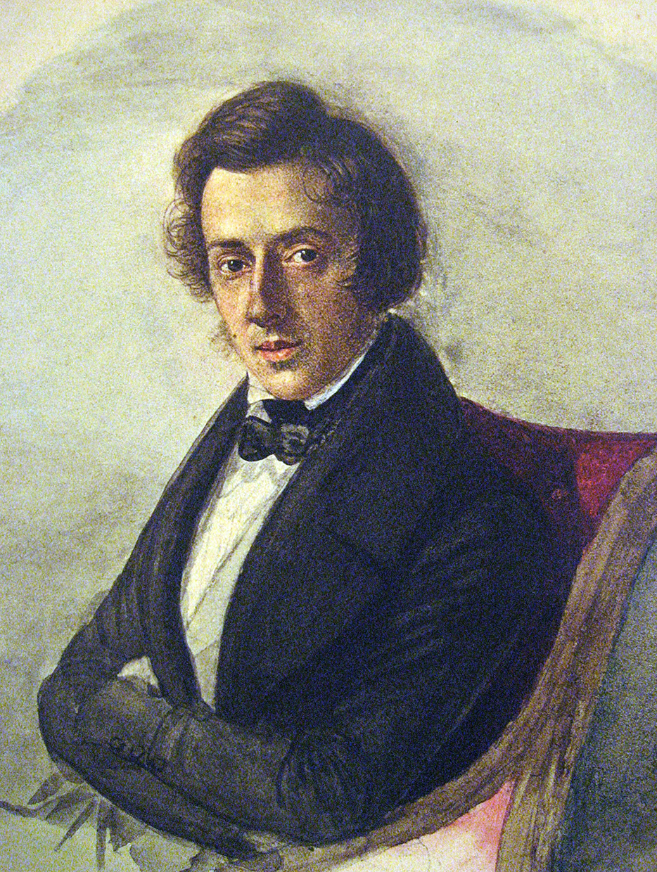Chopin at 25, by his fiancée Maria Wodzińska, 1835. Watercolor and ink on Bristol board. National Museum Warsaw.